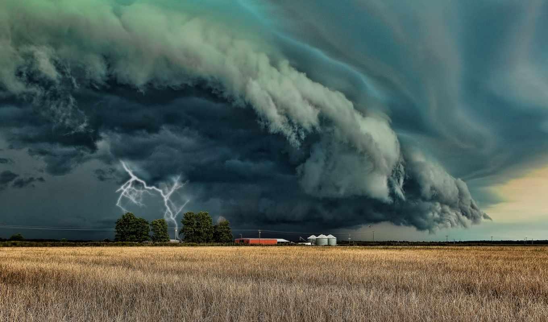 торнадо, разряд, lightning, буря, бе, может, надвигающаяся, прекраснее, поле, постройки, погода,