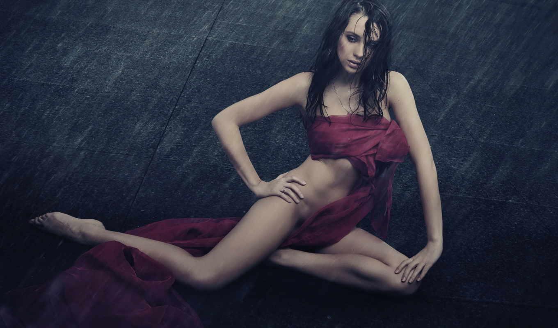 девушка, ткань, мокрые, волосы, тело, красивое, девушки, женский, sensual, ткани, дождь,