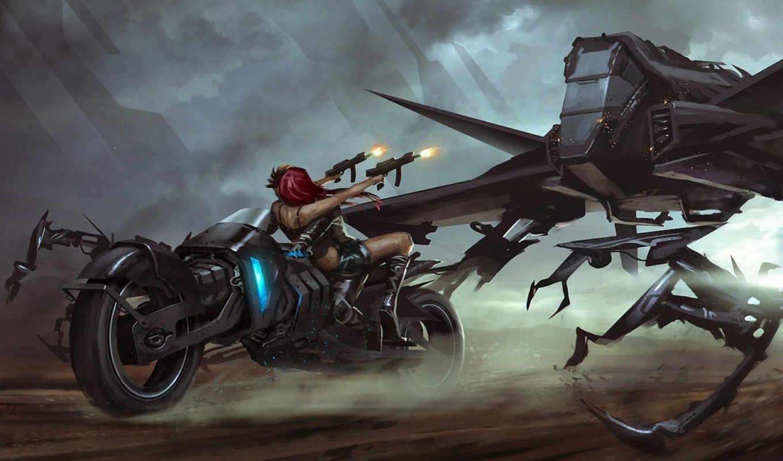 robot, art, девушка, мотоцикл, оружие, битва, shooting, выстрелы,