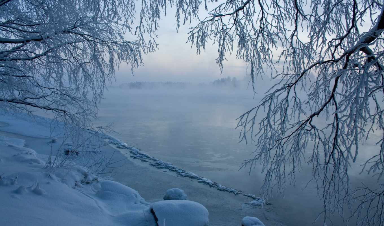 winter, desktop, фон, scene, река,