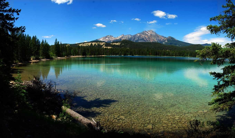 ozero, priroda, горы, красивые, част, зеркальной, деревя, горное, park, national,