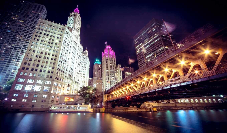 chicago, город, ночь, мост, usa, house