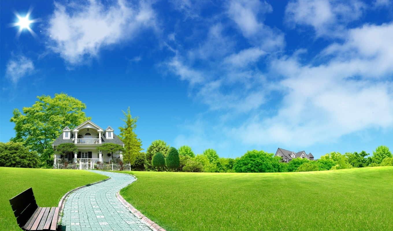 green, home, летний, пейзаж, wide, resimleri, солнечные, photoshop, village, field, desktop, high,