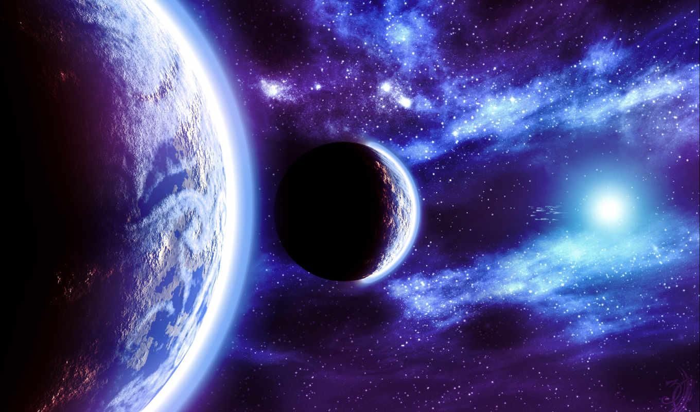 планеты, звезды, свет, свечение, space, картинка, имеет, горизонтали, вертикали,