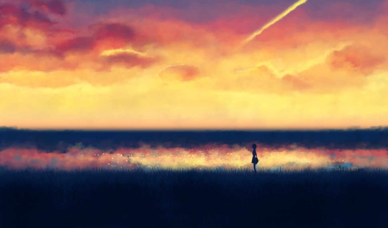 небо, девушка, закат, облака, трава, рассвет, силуэт, поле, высокая, рисунок, минимализм, картинка, картинку,