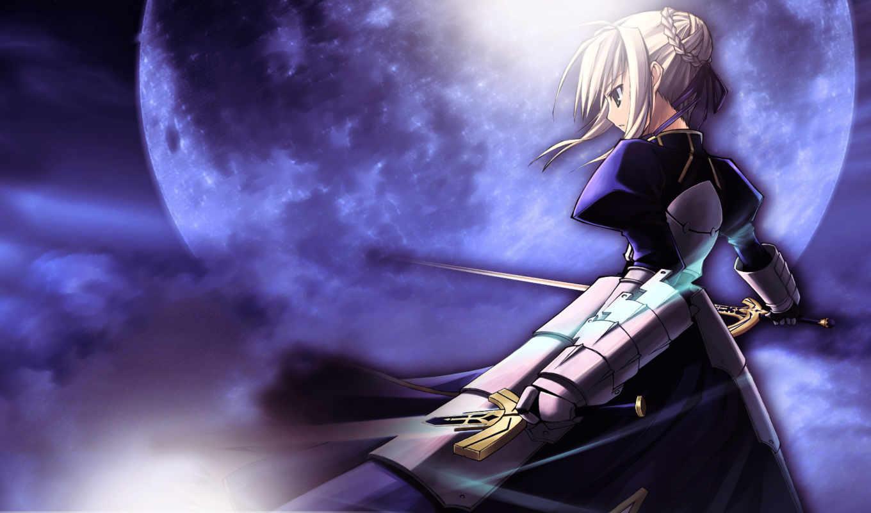 night, fate, stay, saber, anime, sky, sword, fatestay, series, moon,