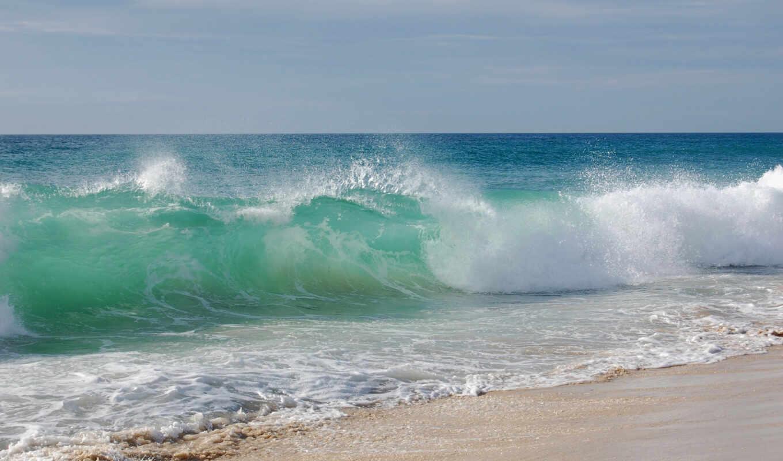 море, вода, небо, пляж, волна, берег, пейзаж, песок, волны, природа, очень,
