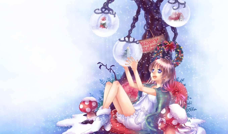 аниме, рождество, новый, год, арт, cheerful, девушка, снег, дерево,