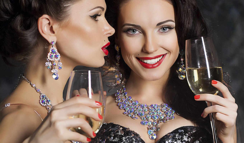 клипарт, девушки, растровый, украшениях, девушка, вечерних, платьях, украшениями, girls, фотостока, дорогих,