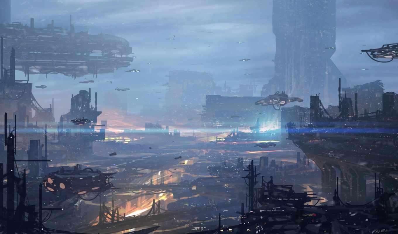 город, будущее, art, корабли, транспорт, огни, powell, jonathan,