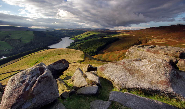 уровень, гора, landscape, камни, природа, река, птичий, ворошить,