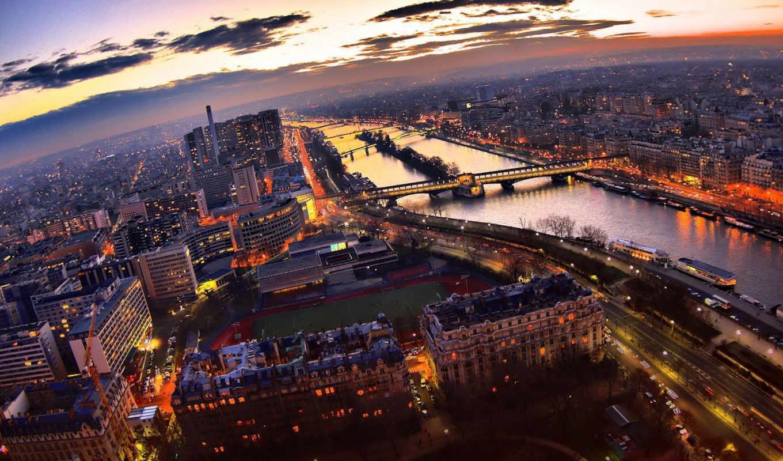 париж, вечер, огни, франция, turret, города, город,
