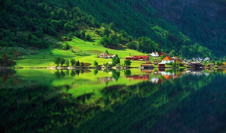природа, деревня, зелёный, озеро, лес, summer, дома,