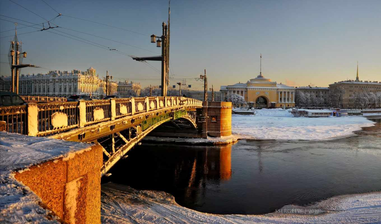 санкт, петербург, winter, дворец, адмиралтейство, мост,