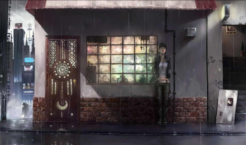дождь, anime, ночь, art, девушка, город,