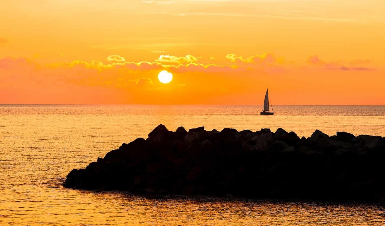 sunset, sailboat,