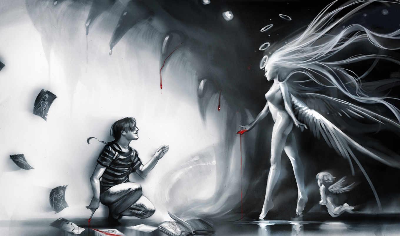 девушка, улыбка, мужчина, профиль, кровь, вода, sakimichan, ангел, крылья, книга, клыки, ангельские, корточках, монохромное,