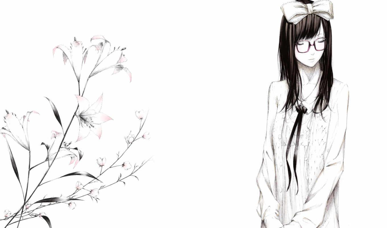 лилии, цветы, рисунок, очки, девушка, art, sawasawa, бант, картинка,