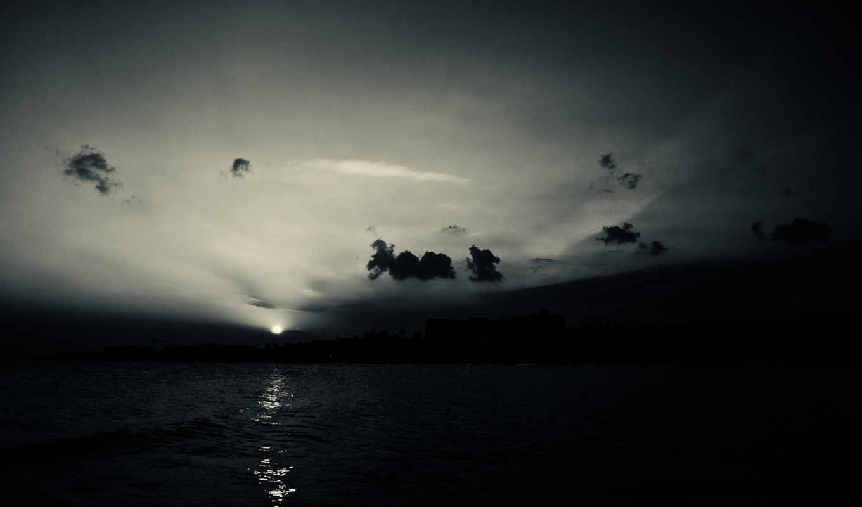 отражение, water, закат, природа, небо, море, sun, горы,
