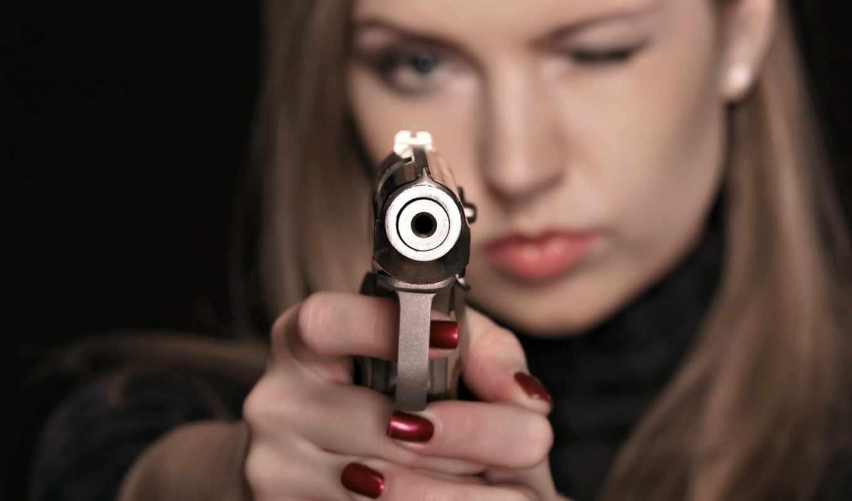 оружием, women, devushki, пистолетом,