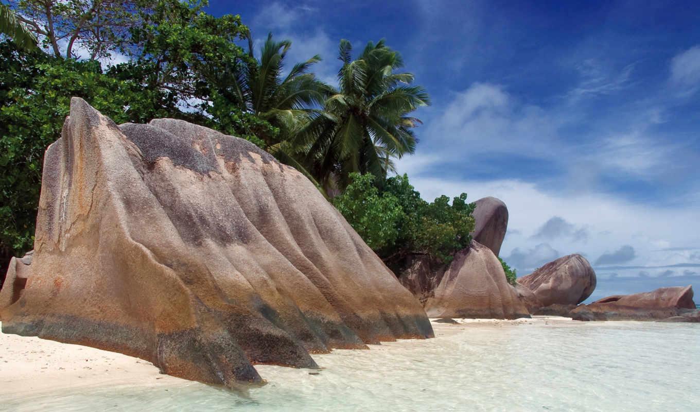 wallpaper, beach, source, камни, anse, argent, море, берег, пляж, песок, небо, скала, пальмы, тропики, palm, картинка, tapety,