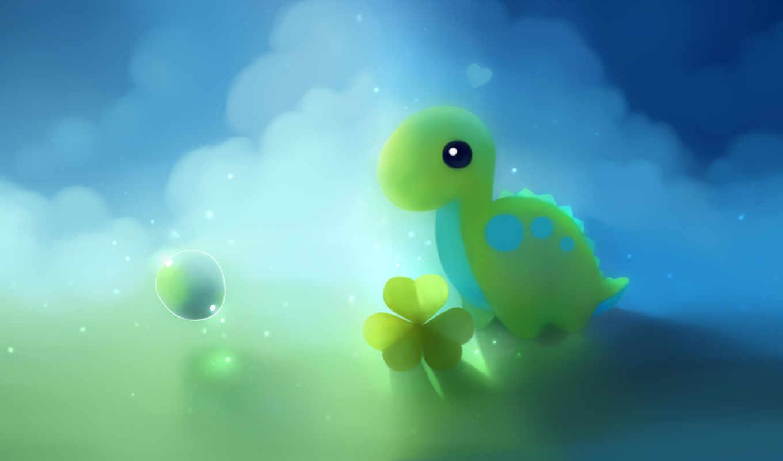 клевер, голубой, зелёный, пузырь, динозавр, облака, картинка, животные,