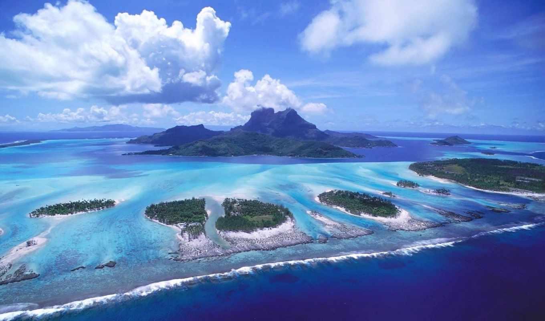 острова, красиво, океан, картинку, картинка, bora, вода, голубая,