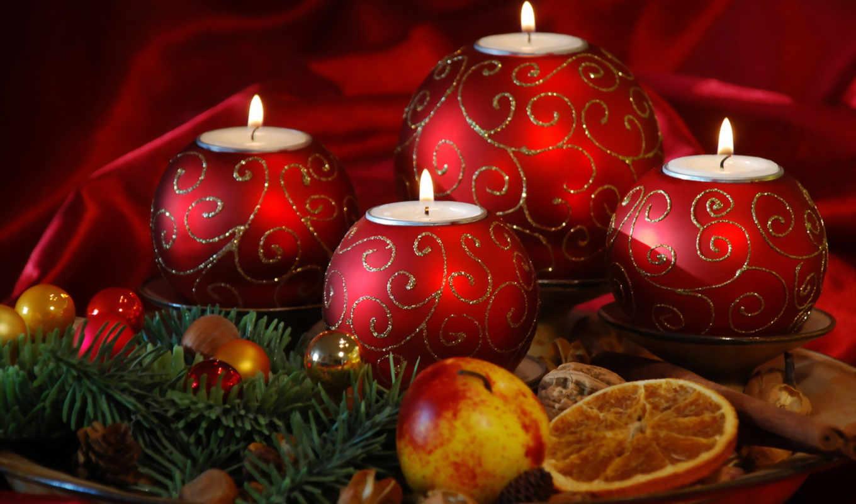 свечи, новогодние, год, new, свой, совершенно, плод,