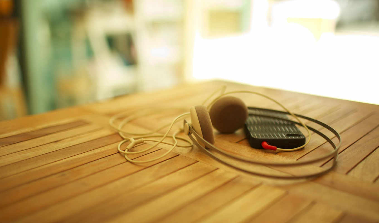 смартфон, наушники, стол, дерево, шнур, макро