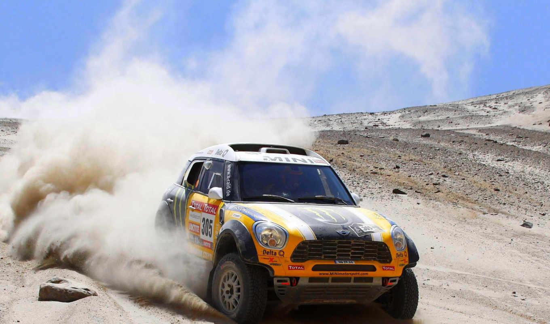 мини, cooper, rally, песок, dakar, пыль, yellow, рейд,