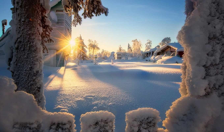 winter, снег, дерево, luchit, sun, природа, landscape, дневник, house