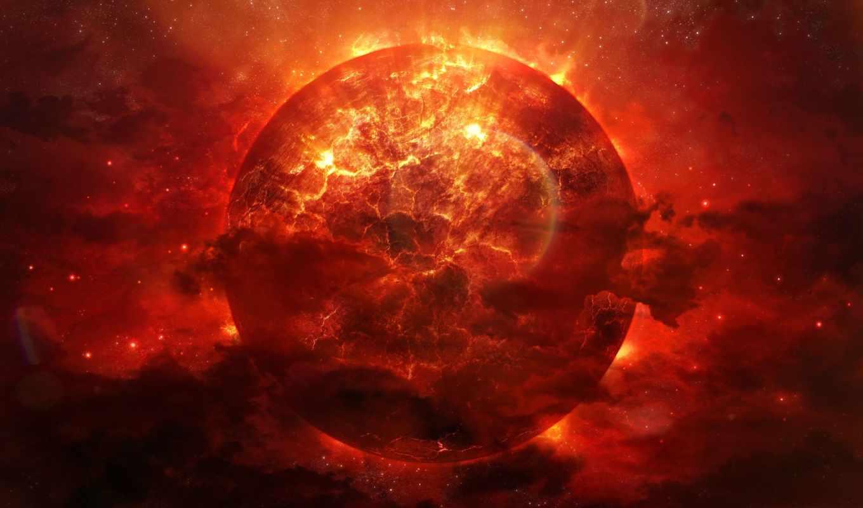 планета, разломы, трещины, арт, космос, огонь, katherl, alienphysique, hannes, взрыв, красная, энергия, туманность,