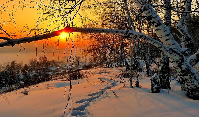 winter, снег, рассвет, красавица, природа, утро, дек, landscape,