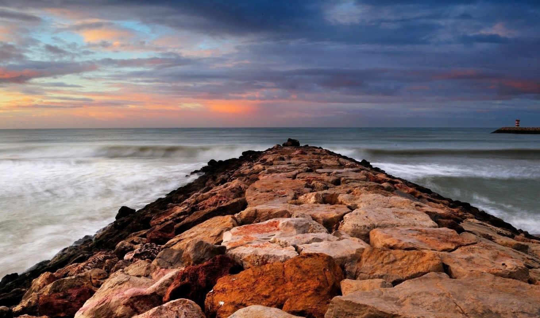 море, небо, скалы, февр, природа,