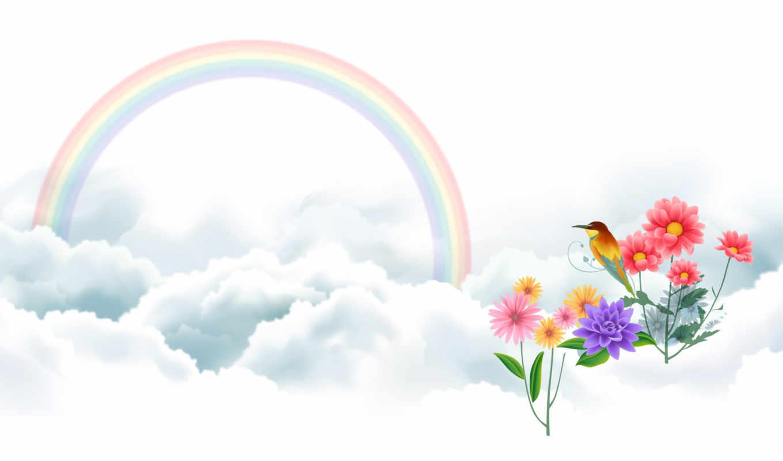радуга, рисунок, art, цветы, рисованные, вектор, птица, oblaka, банка, настроения,