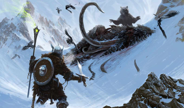 elder, scrolls, skyrim, арт, горы, приключенец, скайрим, мамонт, bethesda, игры, добавлено,
