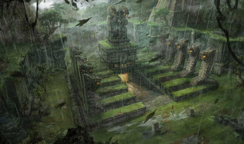 храм, tomb, art, raider, china, игры, game, статуй, лестница, трава,