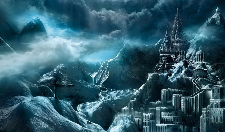 фэнтези, замок, замки, город, рисунок,