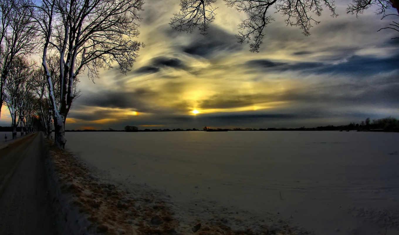 winter, снег, сугробы, вечер, природа, trees,