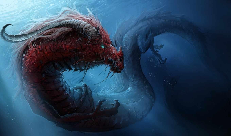world, underwater, fantasy, драконы, картинка,