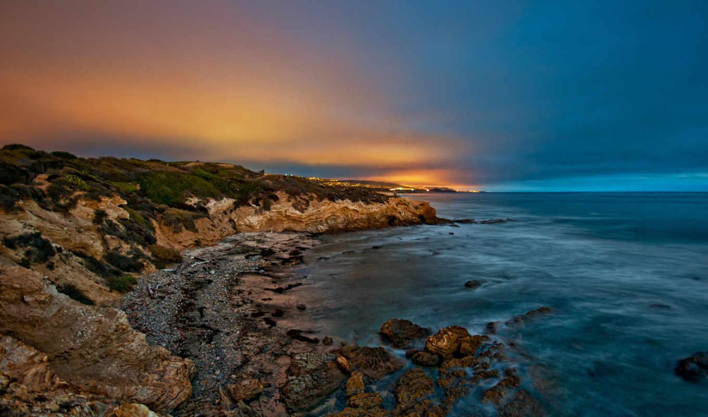 природа, море, картинка, камни, небо, сумерки,