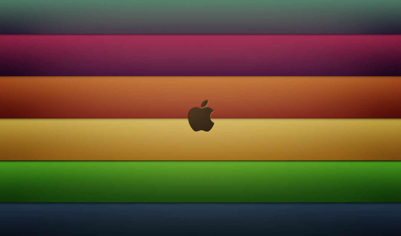apple, полосы, радуга, лого