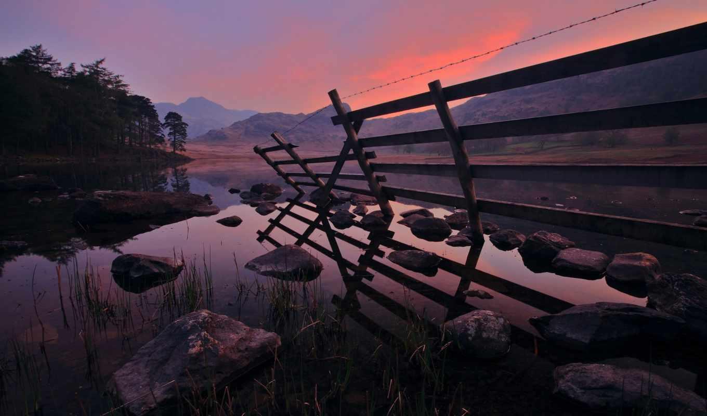 закат, вечер, landscape, горы, берег, горах, закате, небо, река, опубликовано, water,