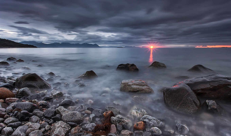 море, norwegian, лофотенские, острова, норвежское, камни, закат, landscape, небо, imgator,