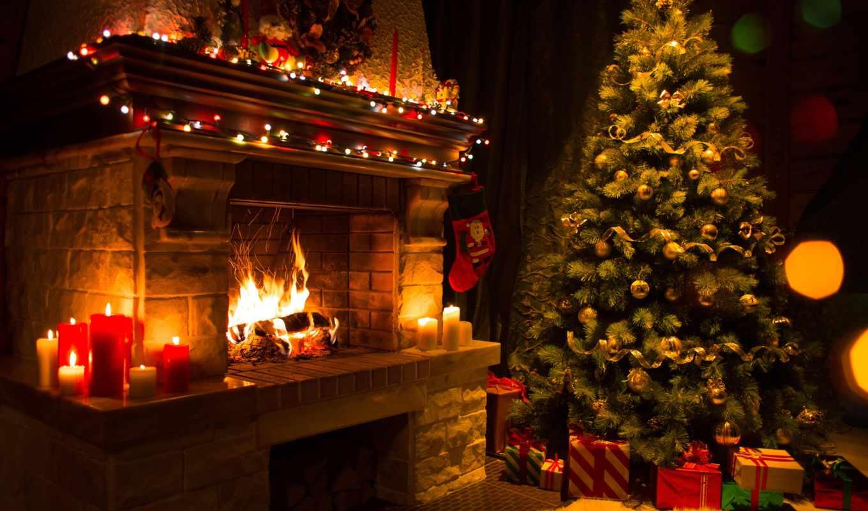 new, год, камин, новогодняя, елка, christmas, свечи, подарки,