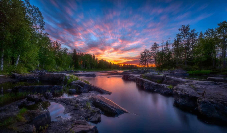 финляндия, закат, oir, река, лес