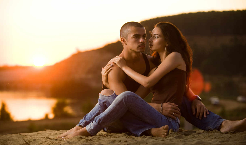 романтика, вечер, любовь, парень, девушка, река, картинка, картинку,