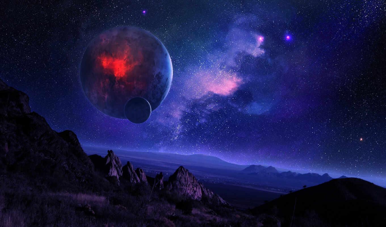 art, красивые, космос, горы, ночь, небо, звездное, digital,