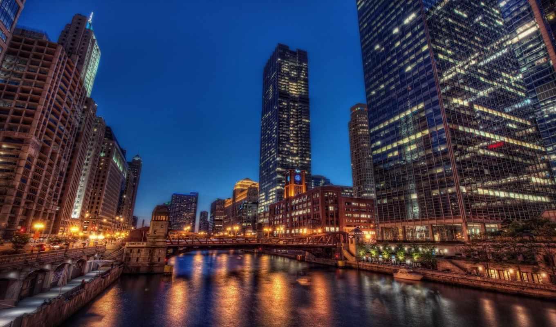 город, река, chicago, ночь, путешествия, кб, architecture, города,