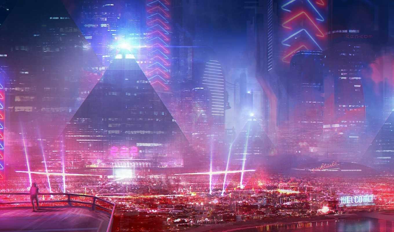 город, будущего, здания, art, корабли,